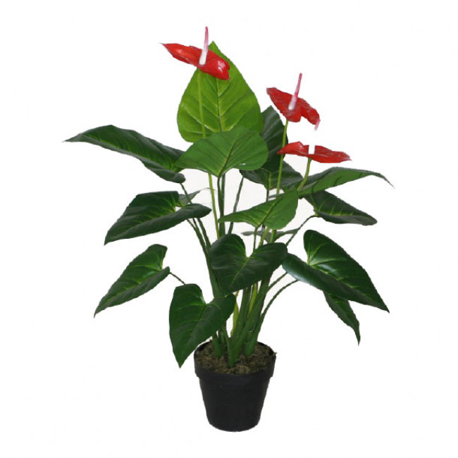 NWTURF ARTIFICIAL ANTHRIUM PLANT 80CM WITH 16 LEAVES IN BLACK POT