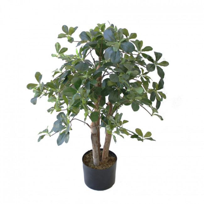 NWTURF ARTIFICIAL SCHEFFELA PLANT 90CM WITH 980 LEAVES. COMES IN BASIC BLACK POT NATURAL TIMBER TRUNKS.