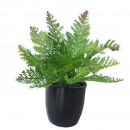 NWTURF ARTIFICIAL FERN BUSH 29CM COMPLETE IN FIBREGLASS POT