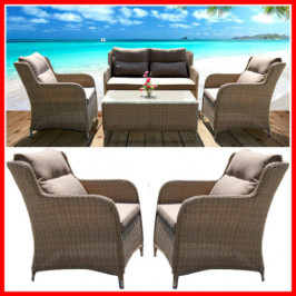 NEW! BEAUTIFUL 4 PIECE WICKER OUTDOOR SETTING! MONT